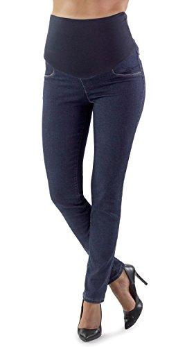 Roma Basic - Jean de Maternité Coupe Slim, Tissu Extensible et Bande en Jersey Doux, Idéal pour Votre Grossesse - Made in Italy (38, Denim)