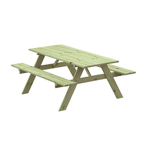 GARDIUN Table Pique-Nique en Bois Solid 28 mm avec Banc 177x151x77 cm 8 Personnes