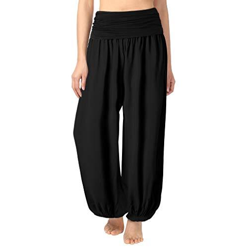 Pantalon Fluide Femme Imprimé Florale Ryures Pants Éléphant Yoga Doux Casual Losse Pantalon Sarouel Aladin Jogging (M, D- Noir Unie)