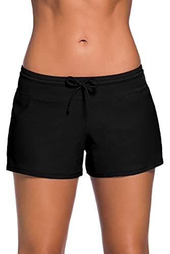 Short de Bain Femme, Bas de Maillot Shorts avec Cordon Élastique Réglable, Tissu Doux pour la Peau pour Yoga, Jogging, Natation Plage(S - 3XL) prix et achat