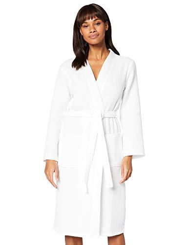 Marque Amazon - Iris & Lilly Cotton Waffle Peignoir Femme, Blanc (White), S, Label: S