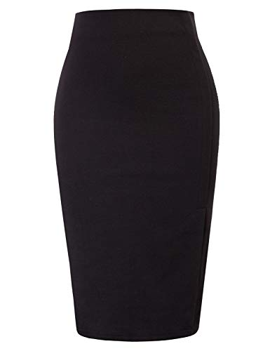 GRACE KARIN Chic Jupe Crayon Taille Haute Couleur Unie Jupe Fendue OL de Bureau Noir CL83S21-1 XL prix et achat