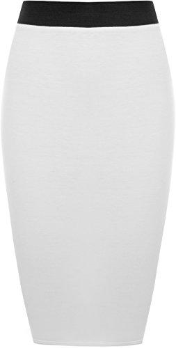WearAll - Midi Jupe Crayon Moulant Elastiquée Uni avec Taille Haute - Jupes - Femme - Blanc -...