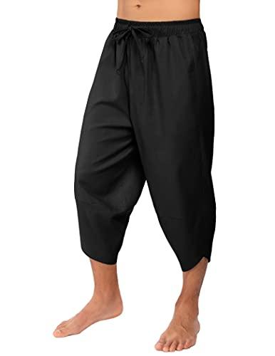 COOFANDY Pantacourt en lin pour homme - Léger - 3/4 - Cordon de serrage - Taille élastique - Décontracté - Plage - Yoga, Noir , L