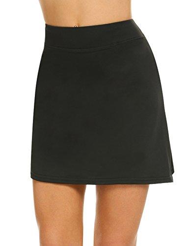 MAXMODA Jupe-Short de Golf Courte Skirt Moulant Elastiquée pour Sport Femme,Noir,L
