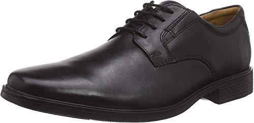 Clarks Tilden Plain, Derbies à lacets homme, Noir (Black Leather), 45