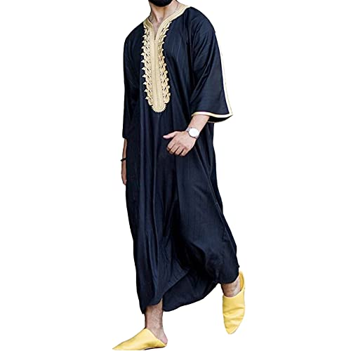 GaoYunQin Hommes Musulmans Vêtements Robe Arabe Chemises Décontractées Pyjama Caftan Abaya Islamique Manche Longue Robe Chemise de Nuit (Color : Black, Size : L)