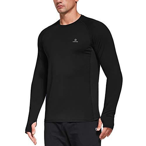 Ogeenier T-Shirt Manche Longue Homme Sport Tee Shirt Jogging Musculation Chemise avec Trous de Pouce,Noir,M prix et achat