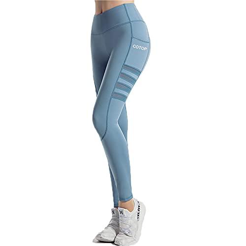 COTOP Leggings de Sport Femmes, Pantalons de Yoga avec Poches, Pantalons de Course Amincissant Taille Haute Peuvent être Utilisés pour Le Fitness, Le Cyclisme, Le Pilates (Bleu, S)