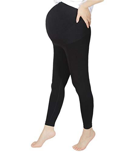 MISS MOLY Leggings de maternité pour femme - Longueur cheville - Avec soutien au niveau des ventre - Doux et extensible - Pantalon de grossesse - Noir - S