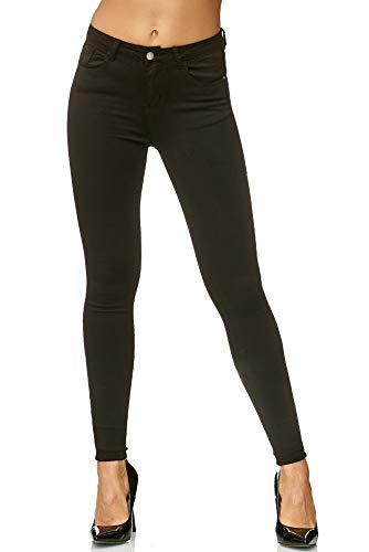 Elara Jeans Femme Taille Haute Skinny Slim Chunkyrayan L003 Black 46 (3XL)