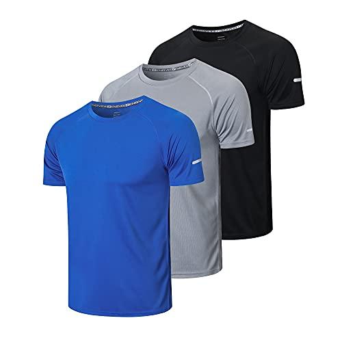 ZENGVEE 3 Pack T-Shirt Homme Manche Courte Séchage Rapide Respirant Baselayer Running Vetement pour Gym(520-Black Gray Blue-S)