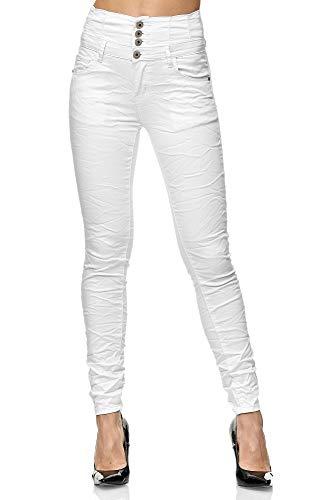 Elara Jeans Femme Taille Haute Skinny Fit Chunkyrayan 1949-1 Blanc-42