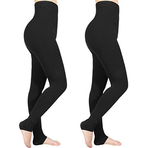 Emooqi Legging Long d'hiver pour Femme, Lot de 2 Leggings Taille Haute, Legging Chaud et Doux avec Doublure Polaire, Pantalon Stretch Extensible Femme,Noir,L