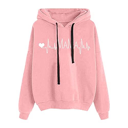 Dasongff Sweat à Capuche Femme Pas Cher Imprimé Pull Manches Longues Cachemire Sweatshirt Hoodies Grande Taille Veste Pullover Jacket Hiver Top Femme Chic et Élégant Streetwear Japonais Automne