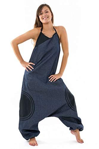 FANTAZIA Combi sarouel femme blue jean et coton noir street chic - Taille unique - 100% coton - Bleu - Hivernal - Confortable & Original - Créé en France, Fabrication Ethique Depuis 2004 - harem pants