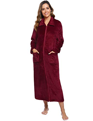 iClosam Robe de Chambre Femme Polaire, Peignoir Femme Fermeture Eclair avec 2 Poches Robe de...
