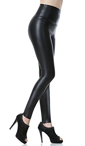 Everbellus Leggings Simili Cuir Taille Haute Sexy Femme Pantalon (Noir, Medium/EU36) prix et achat