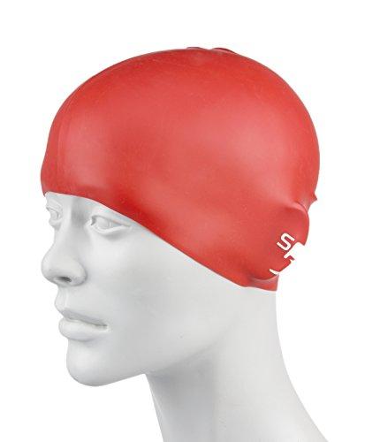 Speedo Bonnet de Bain en Silicone moulé Unisex-Youth, Rouge, Taille Unique prix et achat