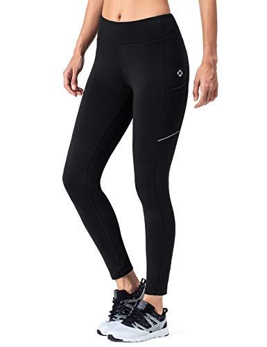 NAVISKIN Collants en Polaire Pantalons Thermique de Course pour Femme Noir Taille M