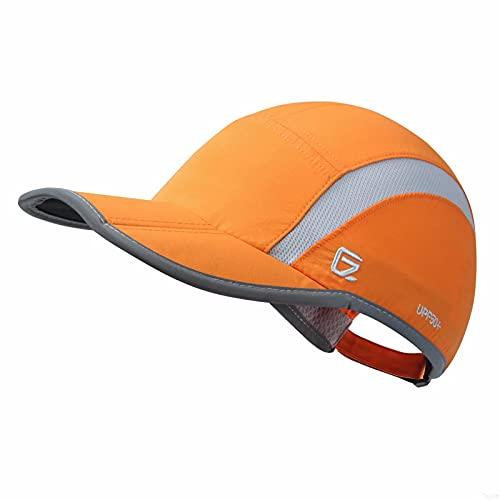 GADIEMENSS Quick Dry Sports Hat Lightweight Breathable Soft Outdoor Running Cap (Folding series, Orange)