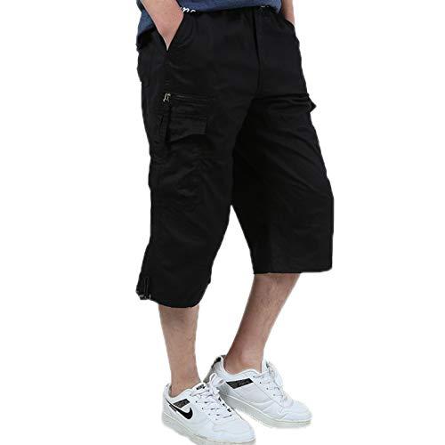 ZumZup Hommes Cargo Shorts en Coton Bermuda Pantacourt Casual Multi Poches Loisirs 3/4 Short Eté Hommes Short de Sport Court Pantalon Noir Taille FR M(Asie XL)