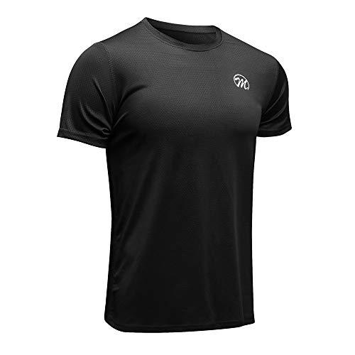 MEETWEE T-Shirt de Sport Homme, Baselayer Manches Courtes Maillot Running Tee Shirt Vetement de Fitness Football Jogging,Noir,XL