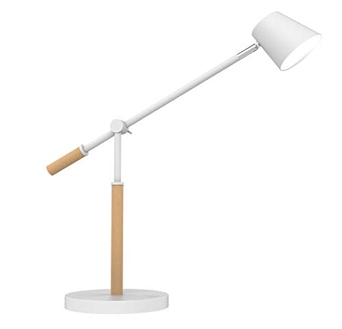 UNILUX Vicky Lampe de Bureau LED 9W 900 Lumens à Variation d'Intensité lumineuse + Port USB 44 x 46 x 18cm Blanc/Hêtre