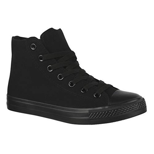 Elara Chaussures de Sport Unisexe Baskets Hautes Chunkyrayan ZY9031-12-A-Allblack-40