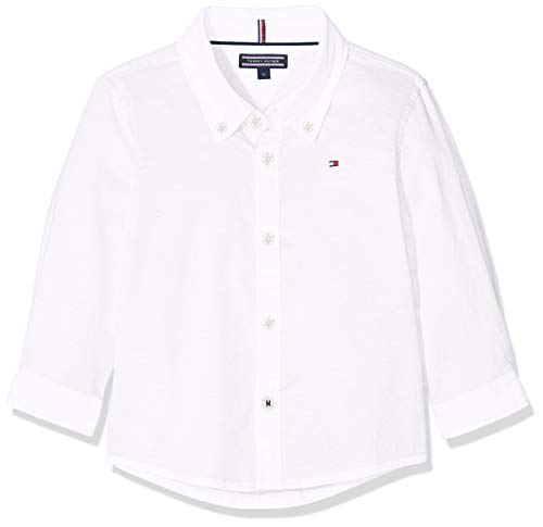 Tommy Hilfiger Stretch Oxford Shirt L/S Chemise Garçon,Blanc (Bright White 123) , 152 (Taille...