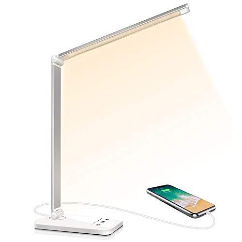 Lampe de Bureau LED, Lampes de Bureau Dimmable 5 Modes de Couleur 10 Niveaux de Luminosité, Flexible Contrôle Tactile Protection des Yeux,Lampe de chevet Avec Port USB et Fonction Minuterie