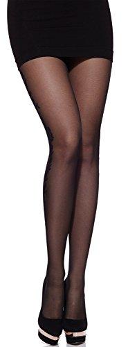 Merry Style Collant Fin Fantaisie à Motif Lingerie Sexy Sous-vêtements Femme MS 284 20 DEN (Noir, L)