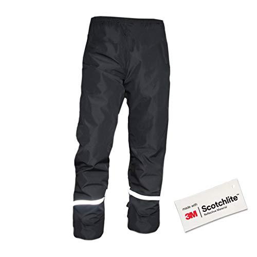 Salzmann 3M Pantalon de Pluie réfléchissant - Pantalon de randonnée léger et imperméable - Fabriqué avec 3M Scotchlite - Noir XL