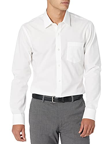 Amazon Essentials Slim-fit Wrinkle-Resistant Long-Sleeve Solid Dress Shirt Chemise Habillée, Blanc (White), 15' Neck 32'-33' (Taille Fabricant:)