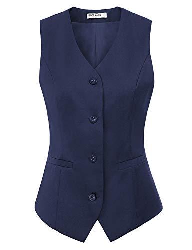 Gilet de Costume sans Manches Femme Col en V Gilet Veste de Tailleur Poches Bleu Marine S...