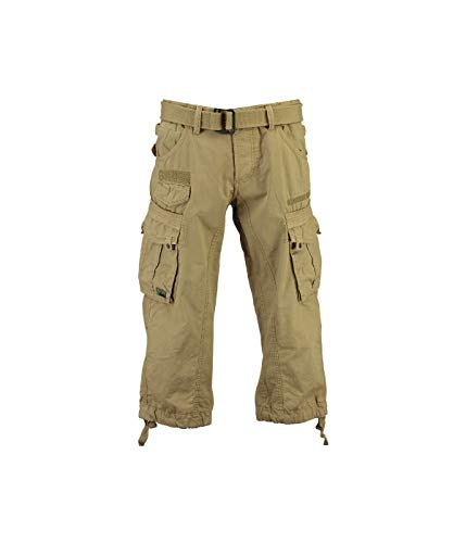 Geographical Norway - Pantacourt Homme Panoramique 3/4 Beige-Taille - XXXL