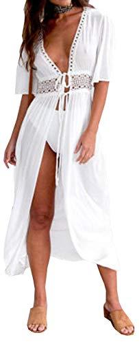 Carolilly Cache Maillot Femme Robe de Plage Longue Ajourée Manches 1/2 Blouse Bikini en Dentelle Blanche Noire Bleue, Blanc, L/38