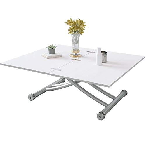Beliwin Table Basse Réglable en Hauteur Blanche Pour Salon,...