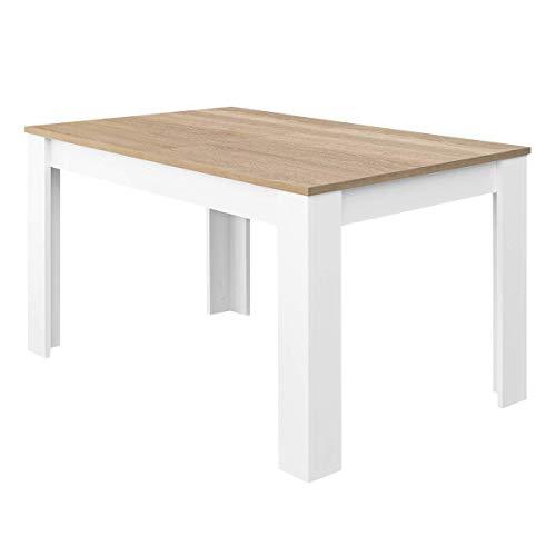 Habitdesign 0F4586ATable de salle à manger extensible de 140à 190cm Couleur chêne canadien et blanc Artik Dimensions fermées (l x L x h): 90 x 140/190 x 78 cm