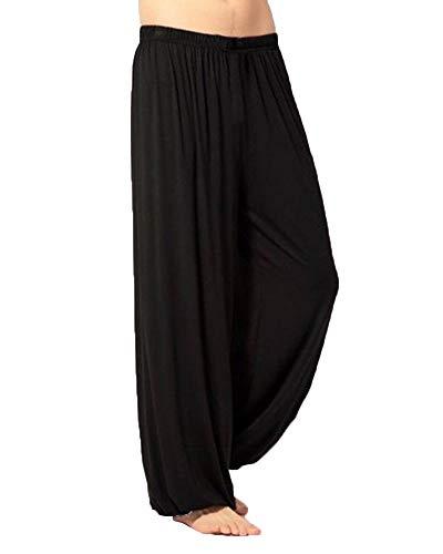 Hommes Sarouel Pantalon De Yoga Tai Chi Respirant Bouffant Casual Pantalons De Sport Noir XL