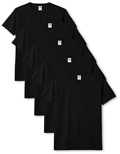 Fruit of the Loom Original T T-Shirt, Noir, L (Lot de 5) Homme