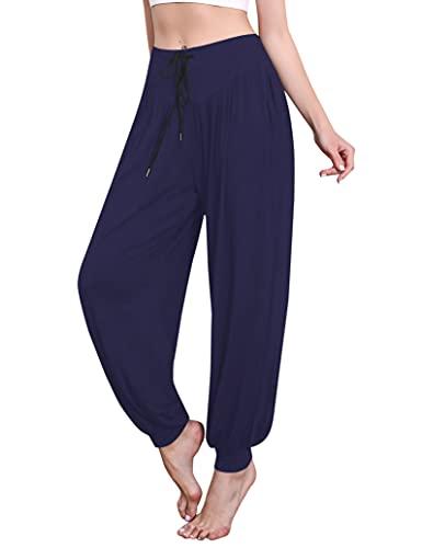 Sykooria Pantalon Sarouel Femme pour Pilate Hippie Yoga Fitness Danse Sport Taille Haute Bouffant Pants,Bleu Foncé,L prix et achat