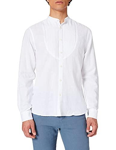 Springfield Camisa Manga Larga Lino ORGÁNICO Mao Chest Pintucks Chemise, Blanc, L Homme