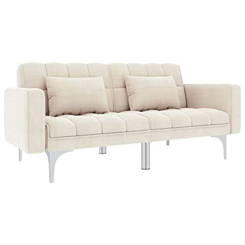 vidaXL Canapé-lit Canapé Convertible Sofa de Salon Sofa Convertible Canapé de Salon Sofa de Salle de Séjour Maison Intérieur Crème Tissu