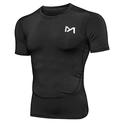 MEETYOO Tee Shirt Homme, Compression Maillot Manches Courtes T-Shirt Baselayer Running Vetement...