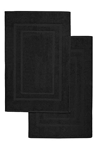 NatureMark - Lot de 2 Tapis de Bain, 100% Coton, 50x80cm, Noir