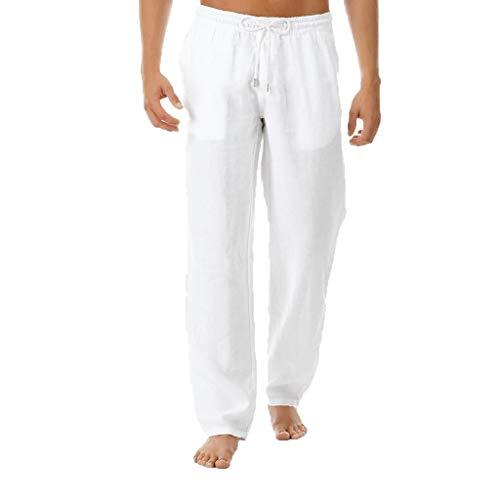 Pantalons Hommes été Nouveaux Pantalons Simples et à la Mode en Pur Coton et Lin