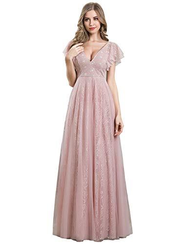 Ever-Pretty Robe de Soirée Manches Courtes Col en V Élégante A-Line Tulle Femme Rose Clair 50