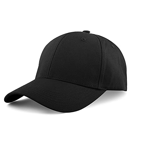 KELOYI Casquette Homme Femme Baseball Noir Coton Adjustable Running Cap One Piece Sport Golf