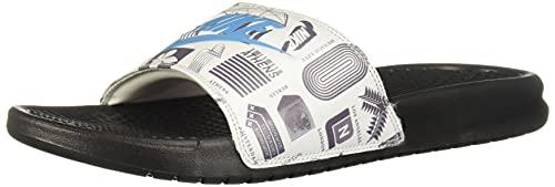 Nike Benassi JDI Print, Slide Sandal Homme, Black/Blue Fury-Summit White-Iron Grey, 42.5 EU